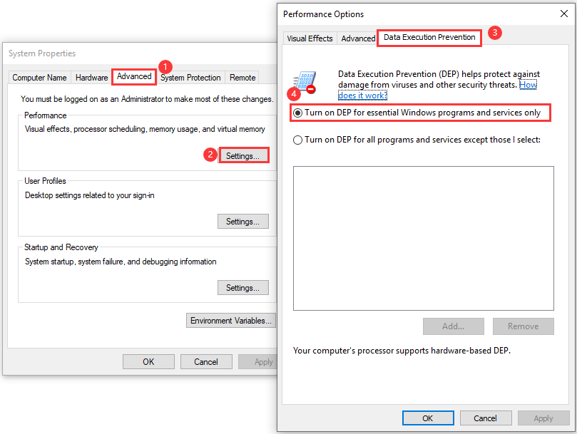 configure DEP settings
