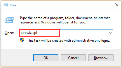 type appwiz cpl in the Run dialog box