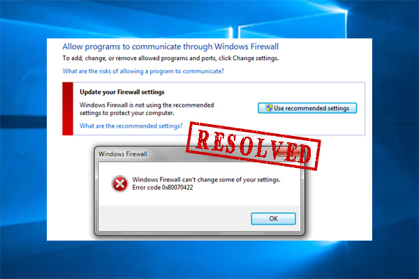 Windows Firewall can't change some of your settings