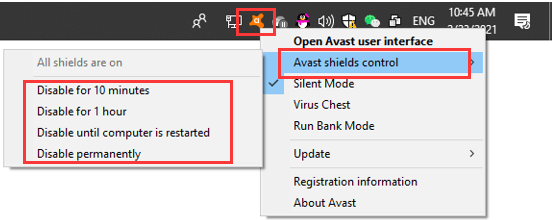 disable Avast real-time protection