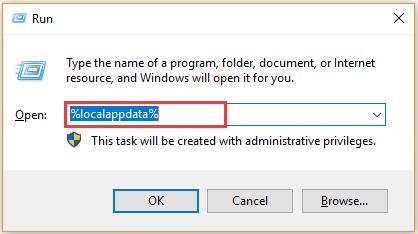 mở thư mục Local AppData