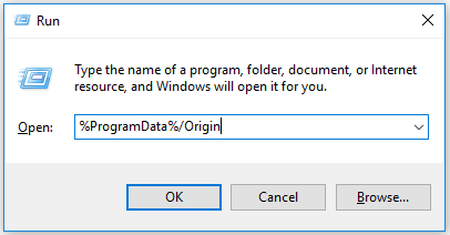 type %ProgramData%/Origin in the Run dialogue box