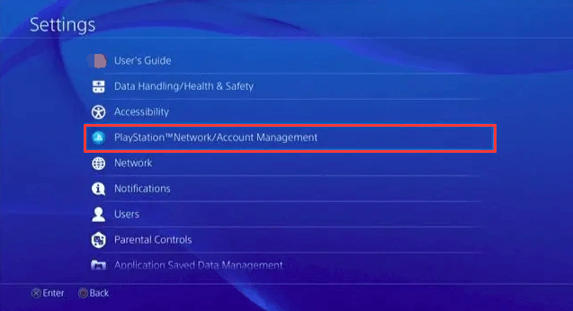 select Account Management in PS4 settings