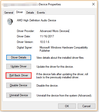 roll back the audio device driver