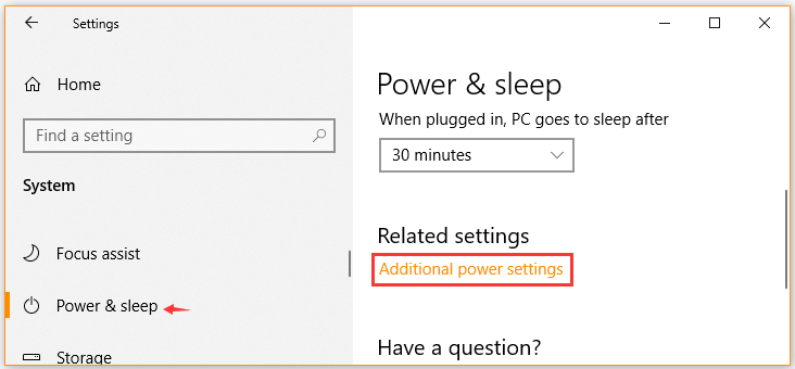 click on Additional power settings