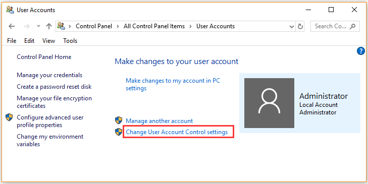 click on Change User Account Control settings