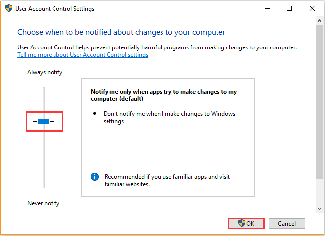 notify me only when app try to make changes to my computer