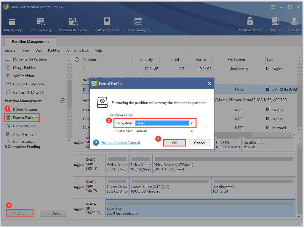 format a drive via MiniTool Partition Wizard