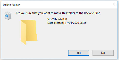 Are you sure you want to move this folder to the Recycle Bin