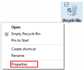 select the Properties of Recycle Bin