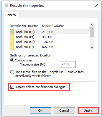 select the Display delete confirmation dialogue box