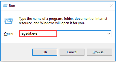 type regedit in the Run dialogue box
