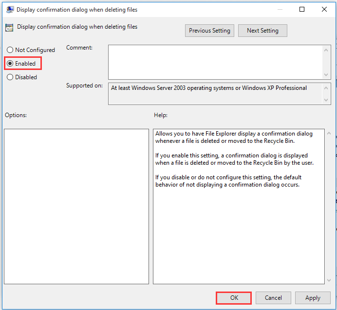 enable confirm deletion using Group Policy Editor