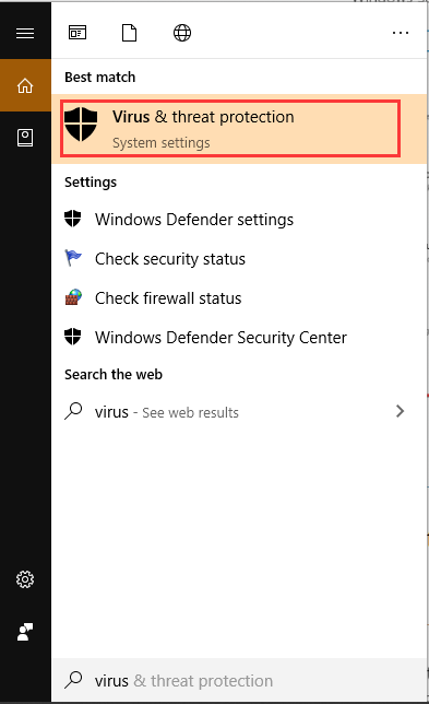 select Virus and threat protection