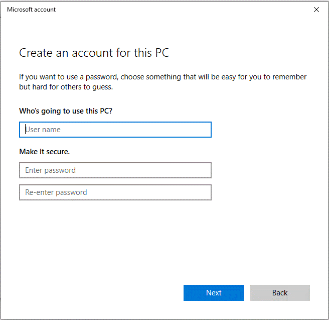 click on Add a user without a Microsoft account