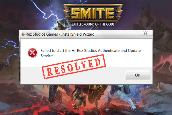 failed to install Hi-Rez Authenticate and Update Service