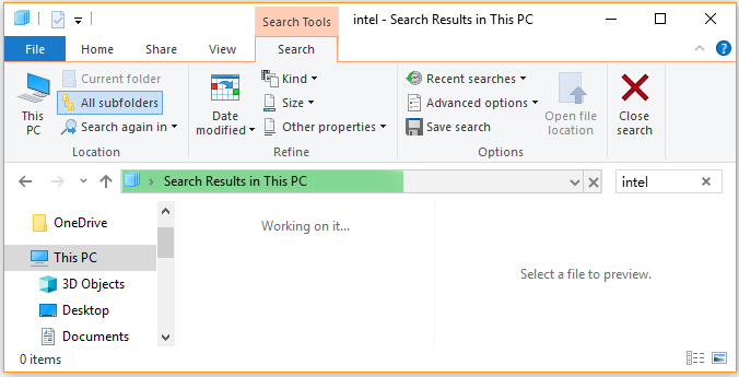 search a large file on Windows 10