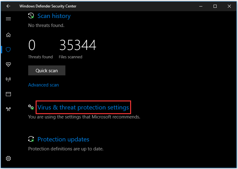 choose Virus & threat protection settings