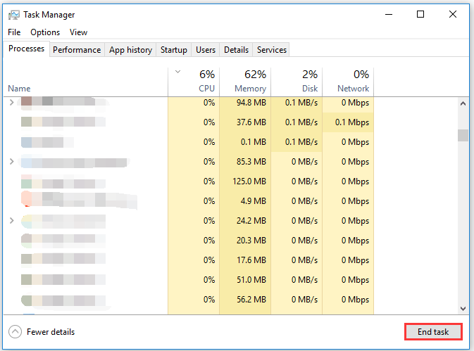 end the selected task via Task Manager