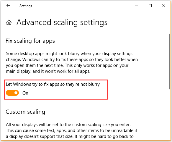 Let Windows try to fix apps so they are not blurry