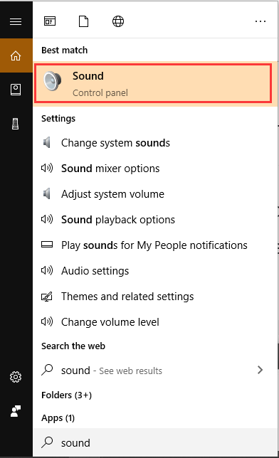 select Sound from the search box