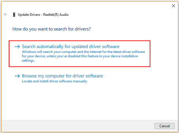 update audio device driver automatically
