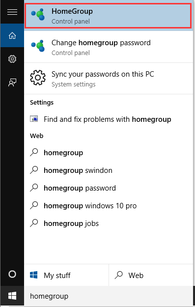 select HomeGroup from the Search box