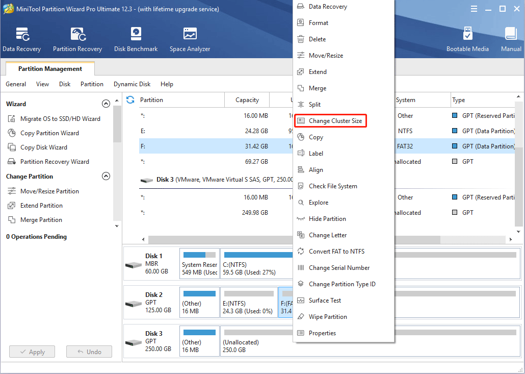 change cluster size