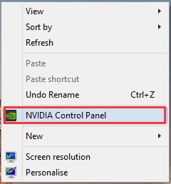 select NVidia Control Panel from desktop