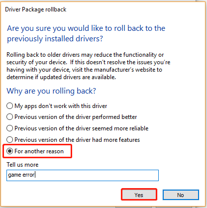 select a reason for rolling back up driver