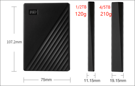 size/weight parameters of WD My Passport HDD