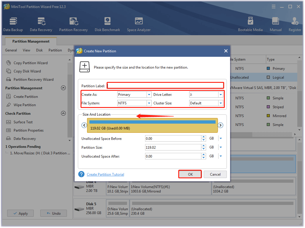 specify the details of the new partition