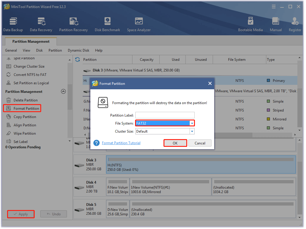 format a partition using MiniTool Partition Wizard