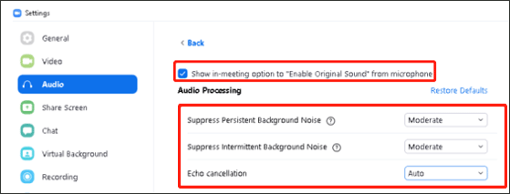 reset the advanced audio setting