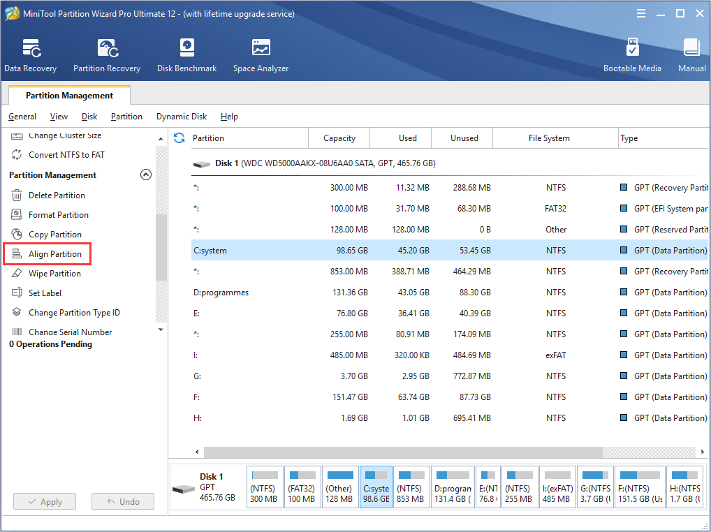 select Align Partition feature
