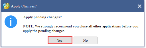 click Yes to apply changes