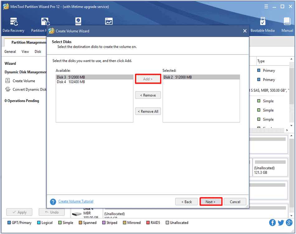 select the disk to create volume
