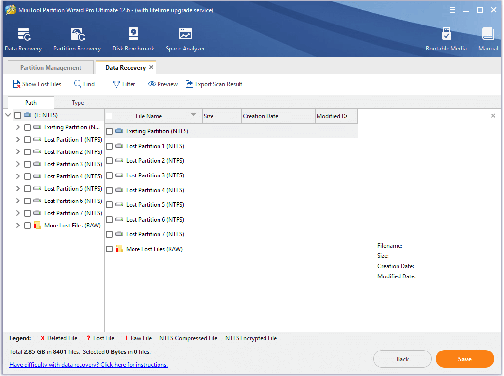 select the formatted partition to scan