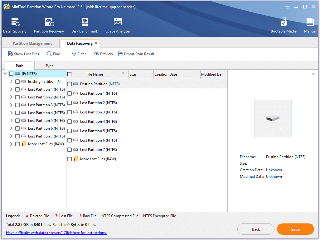 select the damaged or inaccessible drive to scan
