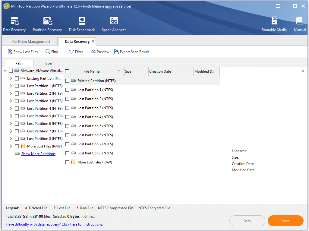 select the lost partition