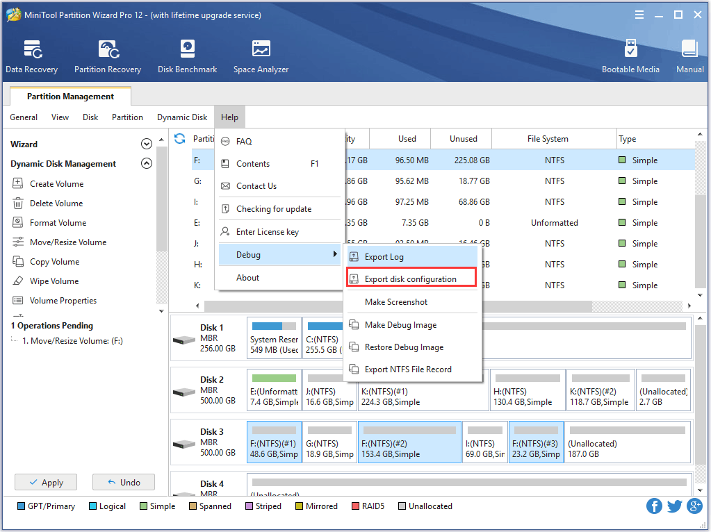 export disk configuration