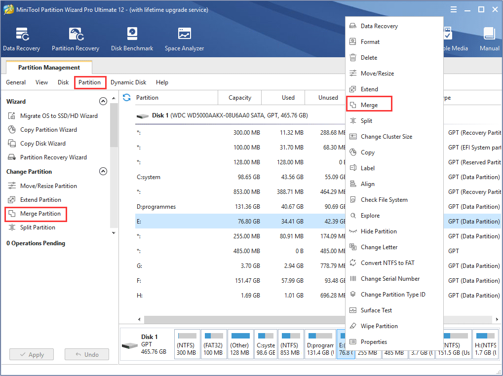 how to select Merge Partition