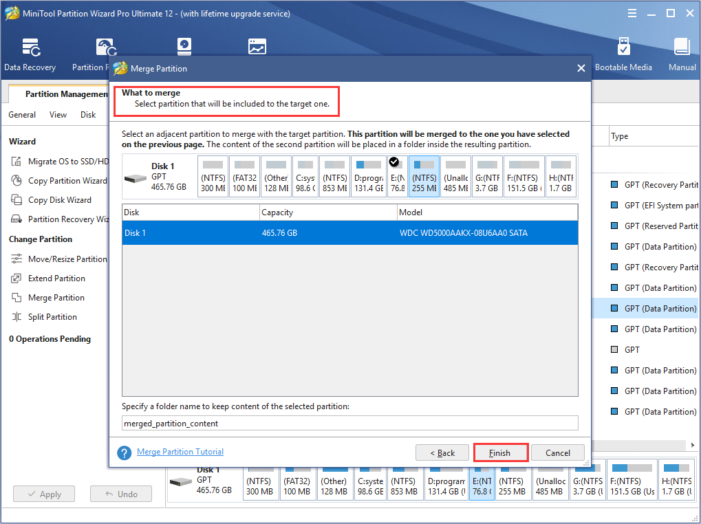choose a partition to be included