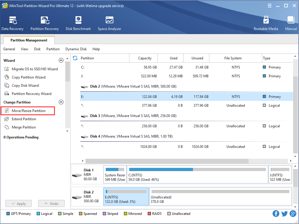 move or resize partition
