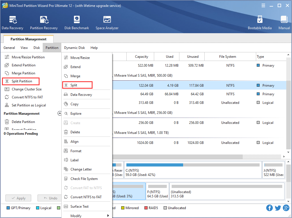 choose Split Partition feature