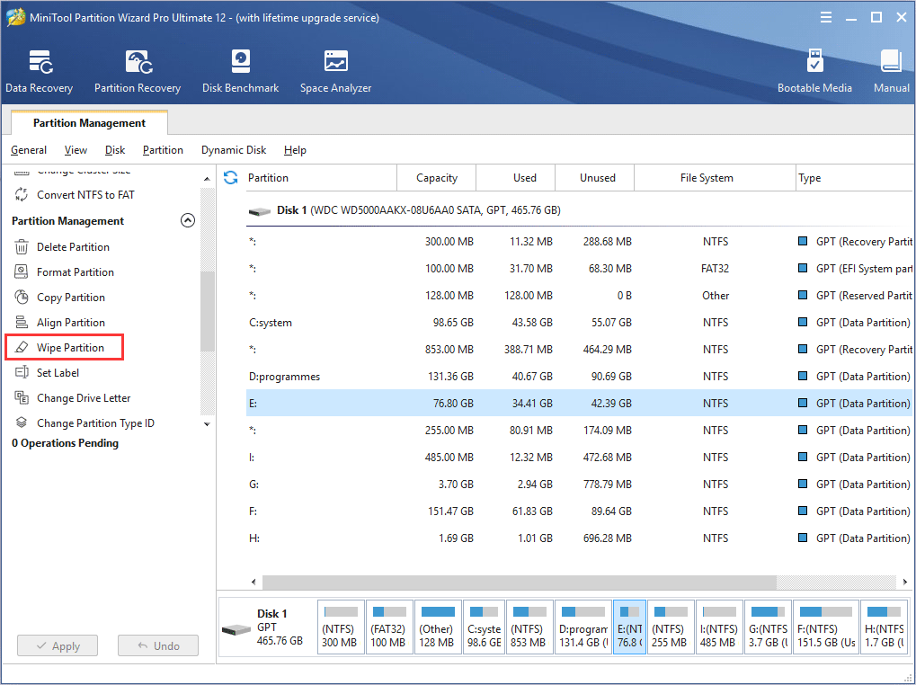 select Wipe Partition feature
