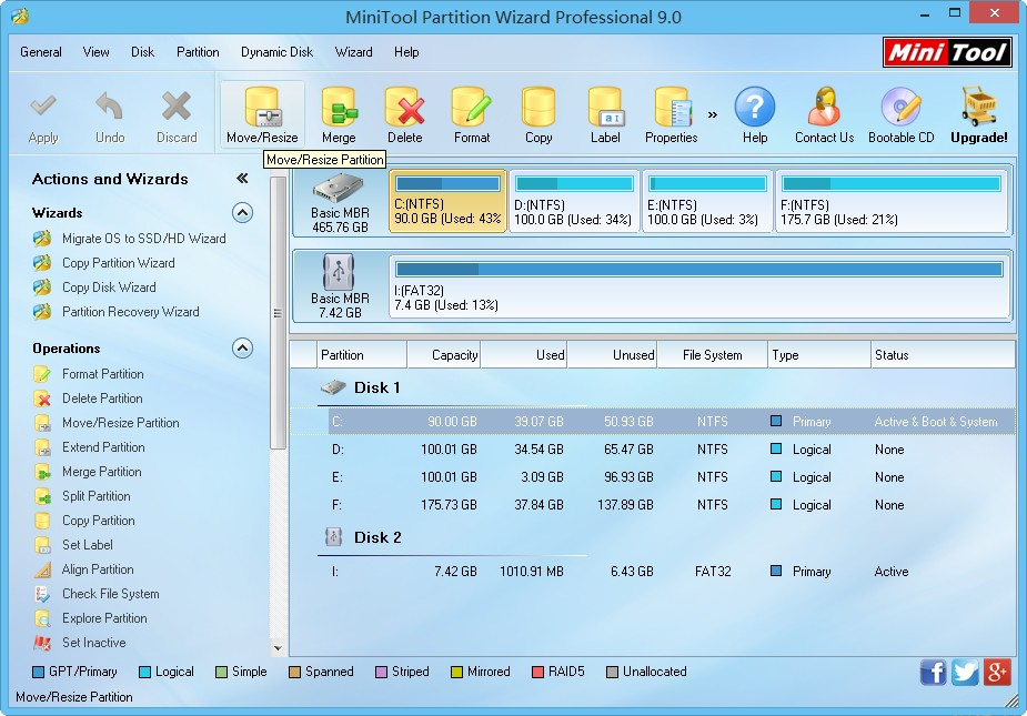 Free Partition Manager for Business users.