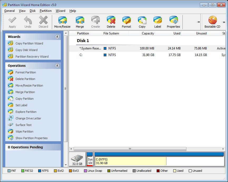Click to view Partition Wizard Home Edition 5.0 screenshot